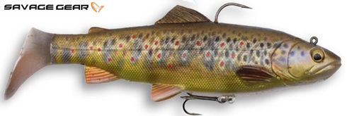 Savage Gear 4D trout rattle shad - 12.5 cm - dark brown trout