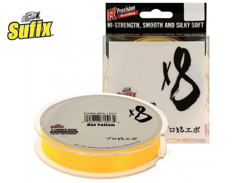 Sufix X8 Braid - hot yellow - 150 m - 0.205 mm