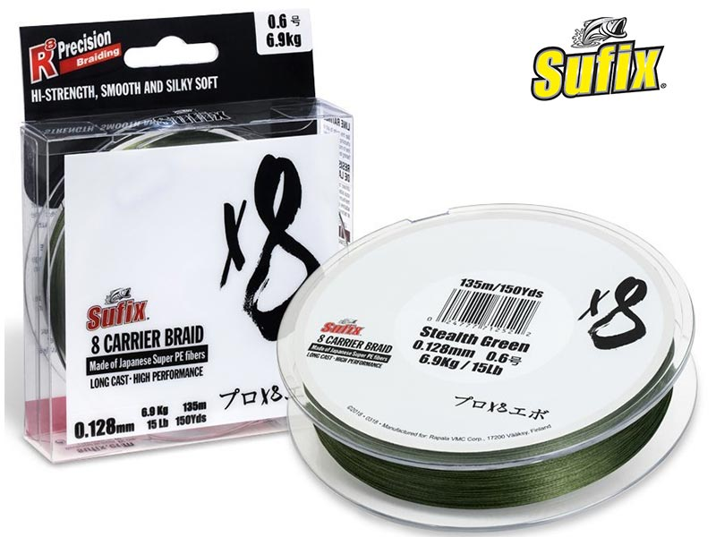 Sufix X8 Braid - stealth green - 150 m - 0.104 mm